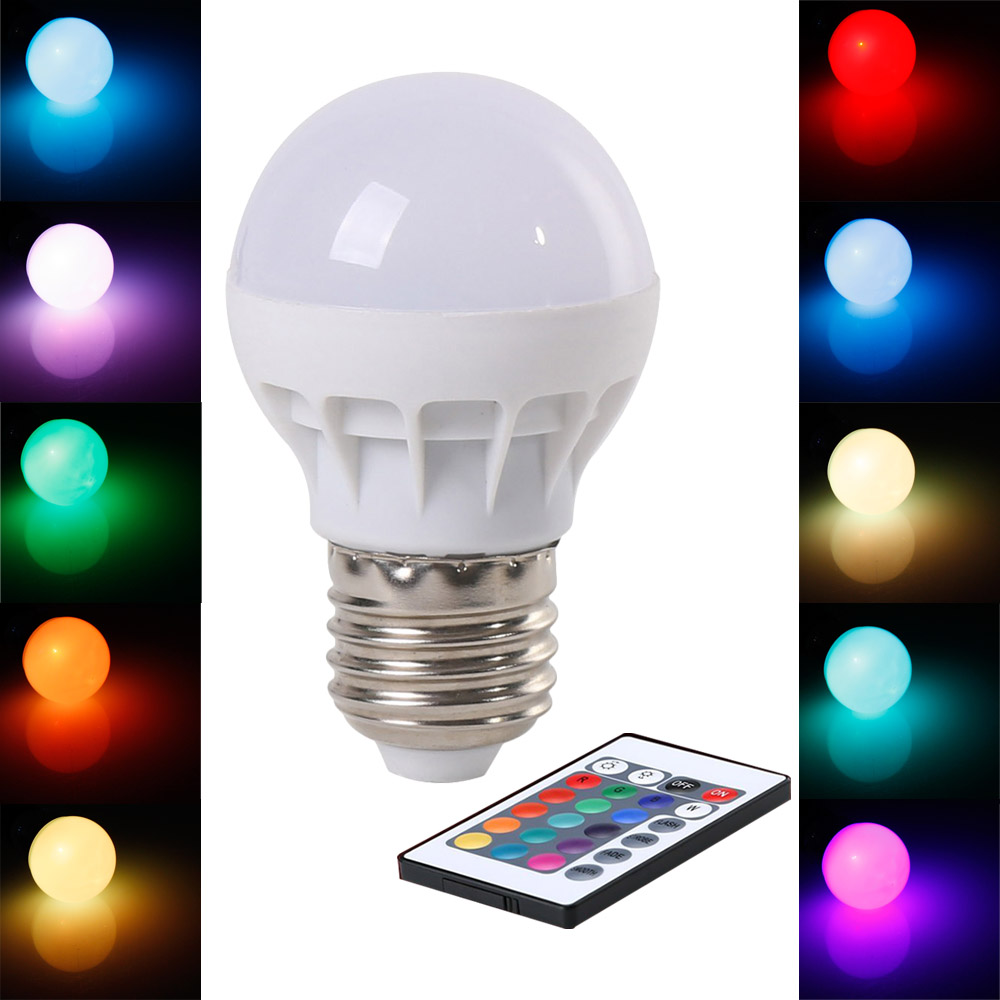 RGB LED Bulb E27 3W Wireless LED Lights AC85-265V LED Lamp RGB Lighting with Remote Control 16 Colors(China (Mainland))
