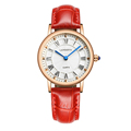 Ladies quartz watch Rose gold Roman dial with leather strap womens casual watches 30m swimming fashion