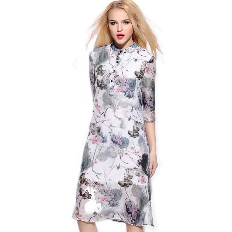 2016 Vintage Spring & Summer Linen Dress Vestidos De Fiesta Russian Split Gray Clothes Turkey Dress Pure Silk Dresses(China (Mainland))