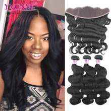 7A Body Wave Brazilian Lace Frontal Closure With Bundles,1Pcs Lace Frontal 13.5x4 With 3Pcs Human Hair Bundles(China (Mainland))