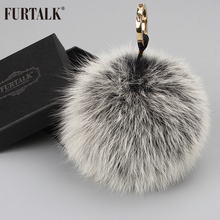 FURTALK Real Fox Fur Pom Pom Keychain Natural Fox Fur Brand Keychain for bag(China (Mainland))