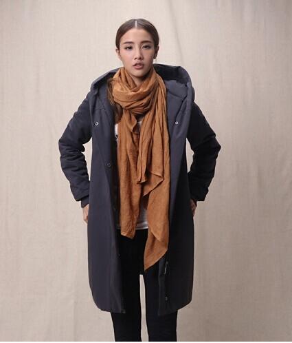 Скидки на Европа стиль 2015 новая мода куртка причинно с длинным рукавом в шляпе женский тонкий тонкий горячая девушка продажи страйт толщиной длинное пальто Y004