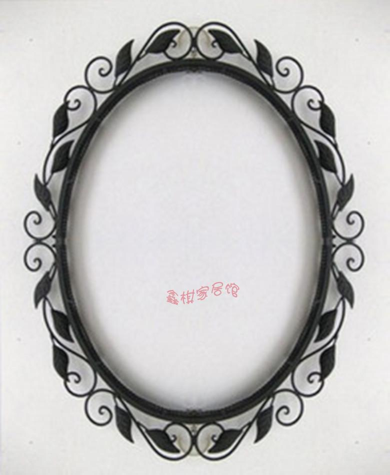 Brief Fashion Rustic Wrought Iron Mirror Picture Frame Frames Wall Bathroom Oval