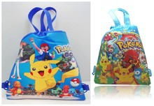 2pcs Pikachu Poke mon Drawstring Backpacks Party Bags 34*27CM School Furniture Non-Woven Fabric Party & Candy Bags Kids Gifts(China (Mainland))
