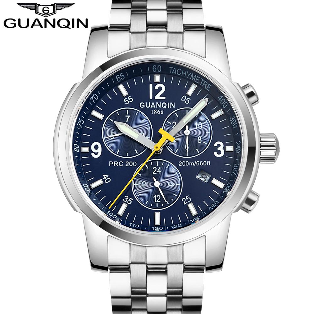 Original GUANQIN Men Mechanical Watches Men Luxury Brand Full Steel Waterproof 100m Business Automatic Wristwatches For Men(China (Mainland))