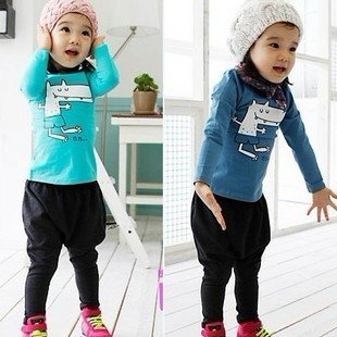 2012 New children's cartoon dog clothing sets,5 sets/lot,2 colors children's clothing sets, Quality kids track suit,Tops + pants