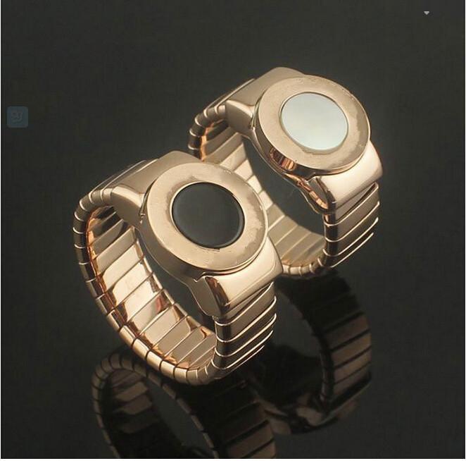 Free shipping Gurantee 100% 316L titanium steel natural shell moonstone rose gold plated wedding Rings with Full Big Brand LOGO(China (Mainland))