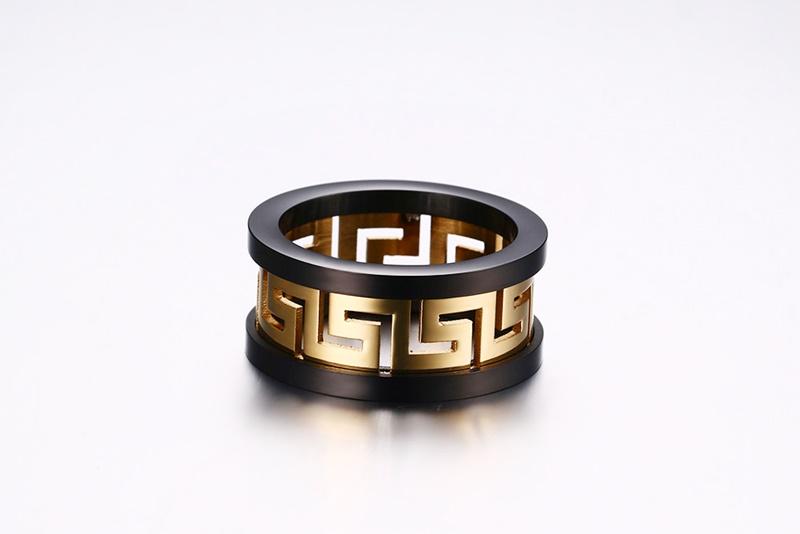 2016 Men's Hollow Ring Gold Plated Greek Key Design Fashion Titanium Steel Party Jewelry Vnox R-170