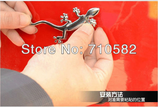 Free shipping 5pcs/lot NEW fashional 10*3.5cm 3D Stereo Gecko 100% Metal Auto Stickers Badge Graphics Car Emblem Decals(China (Mainland))