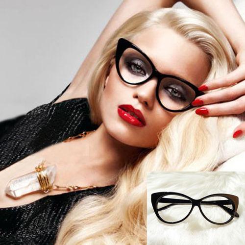 Hot Sale 2015 New Cat Eye Glasses Sexy Retro Fashion Black Women Eyewear Frame Clear Lens Vintage Eyewear(China (Mainland))