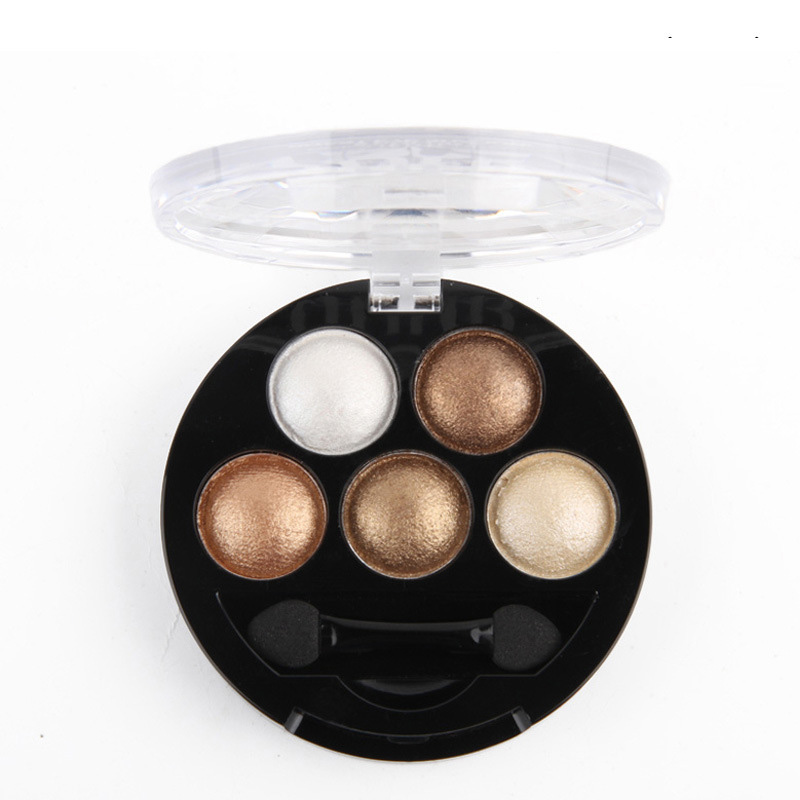 Hot New Pigment Makeup Eyeshadow Palette 5 Colors Eye Shadow Palette Powder Metallic Shimmer Warm Color Cosmetics Make Up(China (Mainland))