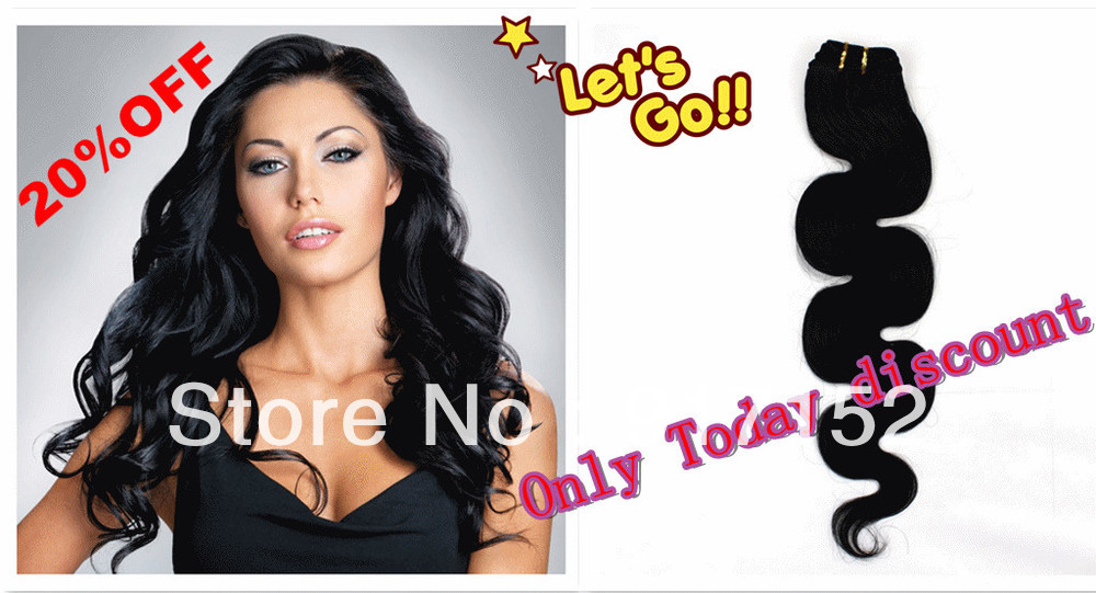 Free DHL #1 Black color 12 inch-26 inch 9 Colors100% Indian Remy human hair BODY wave Full head weaving extension - Cathy's beauty store