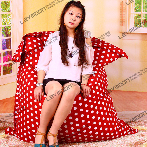 FREE SHIPPING 140*180CM red color white dot beanbags online 100% cotton living room bean bags cheap bean bags without filling(China (Mainland))