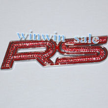 Car Emblem Badge 3D RS Racing Sticker Red Artifical Diamond 3M Decor Fit Camoro - Top-auto Accessary store