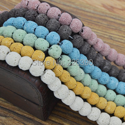 12Colors Approx14mm 40cm/Strand Loose Spacer Round Volcano Lava Stone Beads Natural Stone Beading For Jewelry DIY Findings F383<br><br>Aliexpress