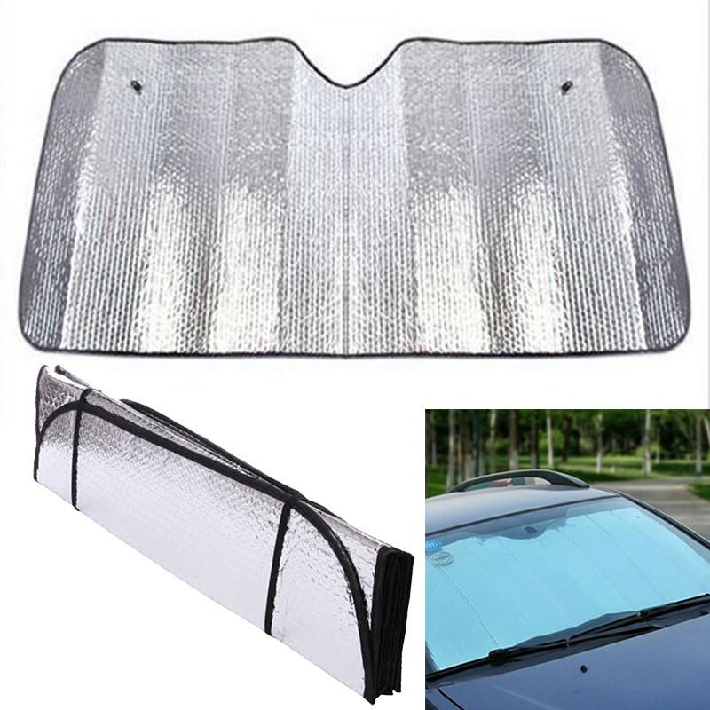 Aluminum Foil 130x60cm Foldable Front Rear Window Sun Shade Car Windshield Visor Cover Block Car Window Glass Safety Shade(China (Mainland))