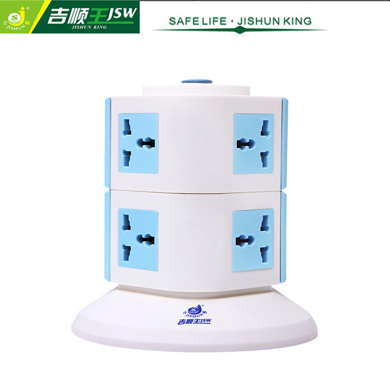 General Switch 8 Gang Vertical Socket Outlets 250V Multiple Plug Socket Extension Universal Outlet with Overload Protector(China (Mainland))