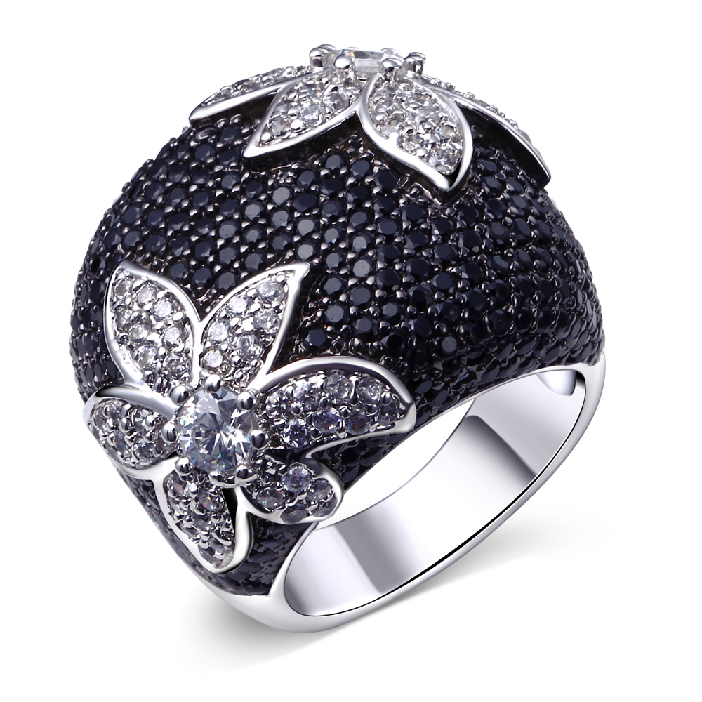 black flower ring jewelry black cz birthday jewelry