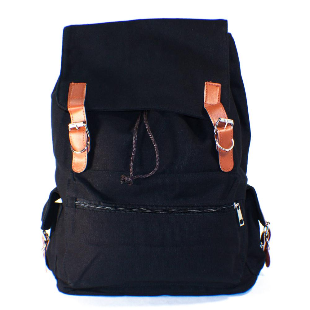 USA Delivery Black Canvas Backpack School Bag Super Cute for School(China (Mainland))