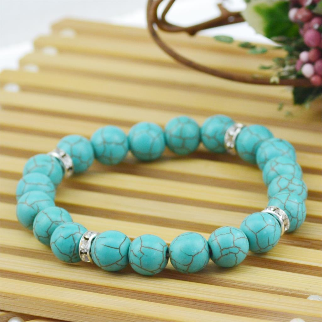 High Quality Magnetic Turquoise Bracelet Jewelry Plated Crystal Charms Beads Bracelets Fashion Style Fine Jewelry(China (Mainland))