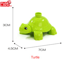 Funlock Duplo Action Figure Blocks Turtle Deep Ocean Animals Educational Kids Toys For 2-4 Years
