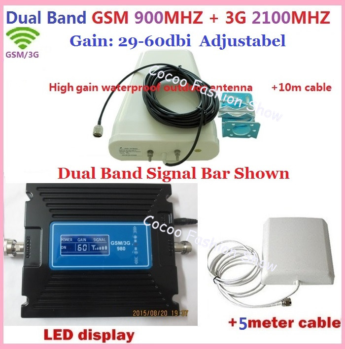 Full set gain Adjustable GSM 900 3G 2100 Cellphone Signal Booster GSM 900mhz 3G UMTS 2100Mhz Mobile Amplifier Cellular Repeater(China (Mainland))