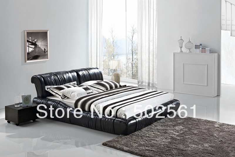 contemporary King size Queen modern genuine leather soft bed gloss black China bedroom furniture(China (Mainland))