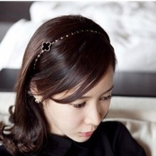 Fashion Korea New Designer Gold Metal Black Four Leaf Clover Hairbands For Women A7R12(China (Mainland))