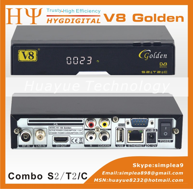 Genuine V8 Golden Combo Satellite Receiver HD DVB-S2 DVB-T2 DVB-C Twin Tuner CCcam Newcam Power better than V8 Pro(China (Mainland))