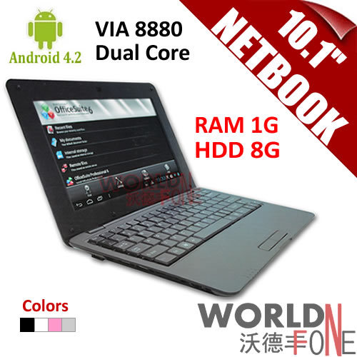 "FS! 10.1inch 10.1"" Netbook VIA 8880 Dual Core Tablet PC Android 4.2 CPU 1.5GHz Wifi 1G RAM 8GB HDD HDMI (Russian Keybard option)(China (Mainland))"