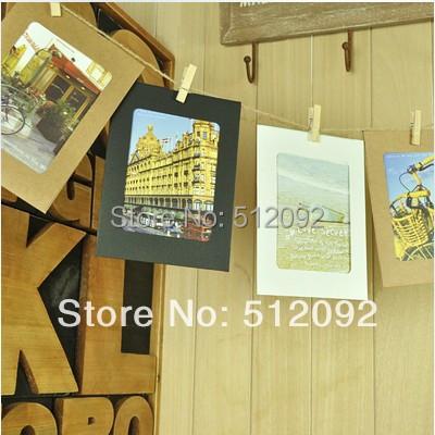 Free shipping Zakka diy hanging paper photo frame photos of wall twiner combination clip 6(China (Mainland))