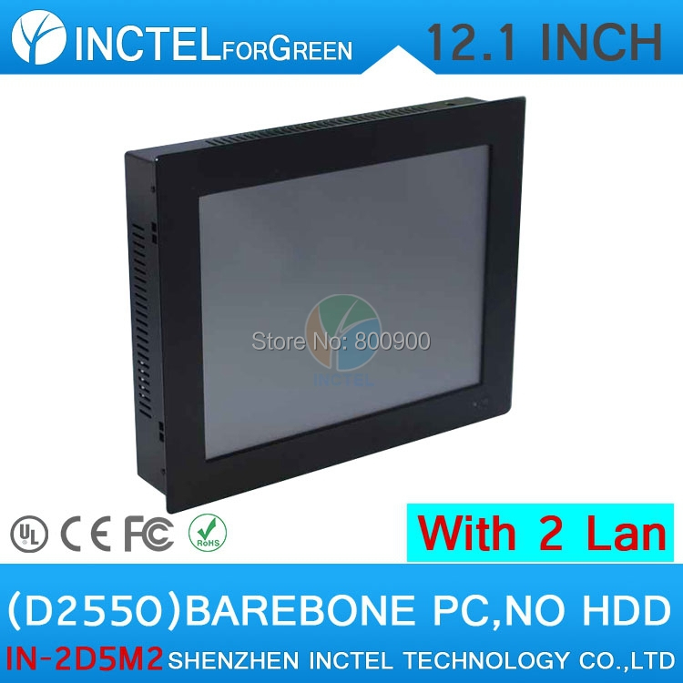 12'' Embedded Computer All In One PC Computer Desktop with 5 wire Gtouch dual nics Intel D2550 2mm ultra thin panel Barebone PC(China (Mainland))