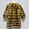 Genuine Red Fox Fur Coat Long Natural Fur Female Jacket Winter Real Fox Fur Detachable Sleeve