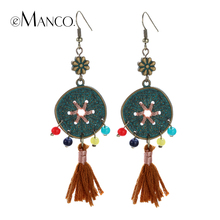 Vintage dangle earrings for women long drop earrings ethnic alloy coin tassel accessories ear jewelry pendientes eManco(China (Mainland))
