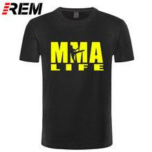 REAIS mens t camisas de Impressão moda Boxer de Muhammad ALI MMA Luta t shirt homens 100% Algodão T-shirt Vida lutando MMA(China)