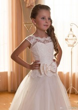 2016 New Lace Ball Gown Tulle Floor Length Baby Girl Birthday Party Christmas Princess Dresses Children Flower D - Beauty-Emily Official Store store