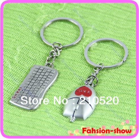 J117- 1 Pair Beautiful Keyboard And Mouse Pendant Key Chain Keyring Keyfob Girl boy Lover Gift Free Shipping(China (Mainland))