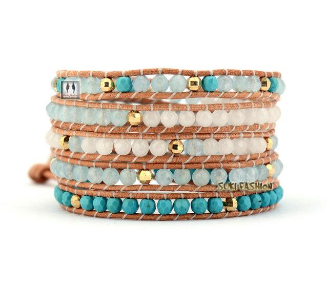 Turquoise Semi precious Stones Wrap Bracelets Beading Bohemian Leather Bracelet - SUKI FASHION JEWELRY store
