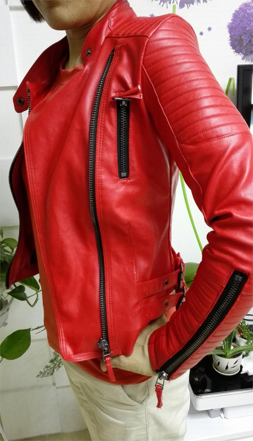 Red faux leather jacket plus size