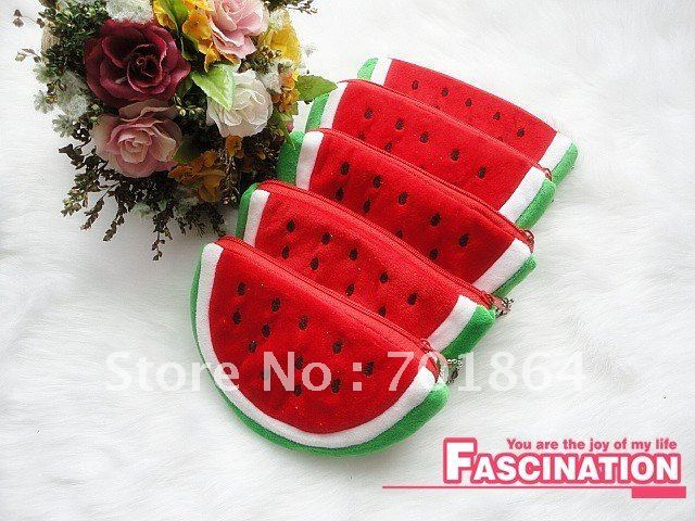 Fashion Accessory Plush Mobile phone cases Coins bags Red watermelon design