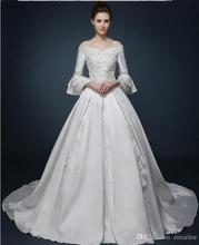 2017 Long Sleeve Sexy Wedding Dresses Bateau Satin Elegant Bridal Wear Cheap Vintage Ball Gowns Wedding Dresses Online(China (Mainland))