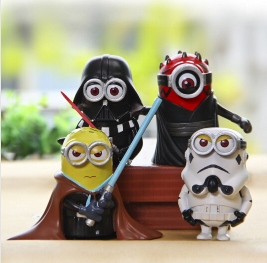 Minion Cosplay Star war 4Pcs/Set Cute Darth Maul Darth Vader Stormtrooper Luke Skywalker Action Figure PVC Model Kids Toys Gifts<br><br>Aliexpress