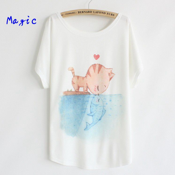 [Magic] 2014 newest style plus size batwing sleeve womens cotton t-shirt 21 models nice printed t shirt free shippingОдежда и ак�е��уары<br><br><br>Aliexpress