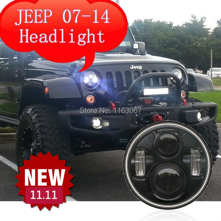 2pcs CREE Wrangler 07-14 LED head light 7 inch 12-30V 7000K LED car LED headlights black Color led head lamp auto headlamp(China (Mainland))