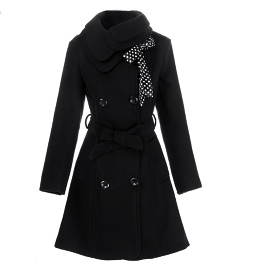 2014 New Hot Women Double-breasted Turtleneck Luxury Winter Long Wool Coat Jacket Black/Gray/Red/Pink M/L/XL/XXL 51(China (Mainland))