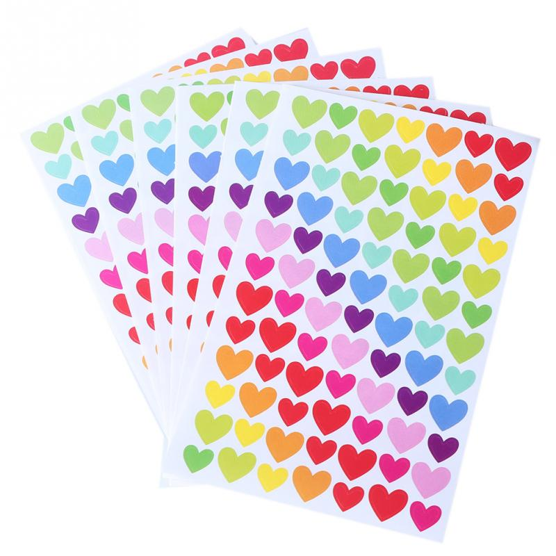Hot 6 x Sheet Love Heart Shape Colorful Paper Stickers For Diary Album Stickers Decorative Stickers(China (Mainland))