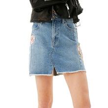 Buy 2017 summer skirts womens casual mini skirt embroidery denim skirt high waist skirt jeans womens clothing for $18.62 in AliExpress store