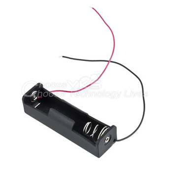 """Brand New Plastic Battery Storage Case Box Holder for 1 x 18650 Black with 6"""" Wire Leads"""