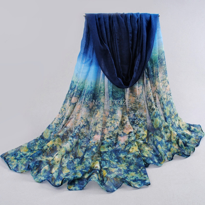 Voile Oversize Fashion Flower Printing Scarf sobretudo inverno travel beach Shawl Bikinis Wraps Sarong(China (Mainland))