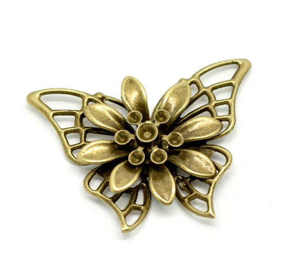 Free Shipping 20 Bronze Tone Butterfly Embellishment Findings 4.5x3.5cm 1 3 4quot;x1 3 8quot; B00076